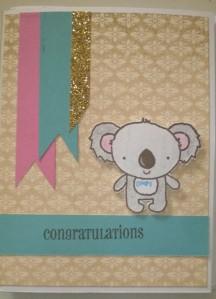 yuletide standing koala baby boy card